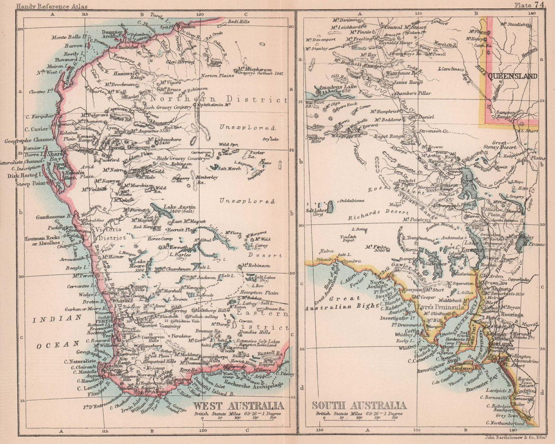 Western Australia & South Australia. BARTHOLOMEW 1893 old antique map chart