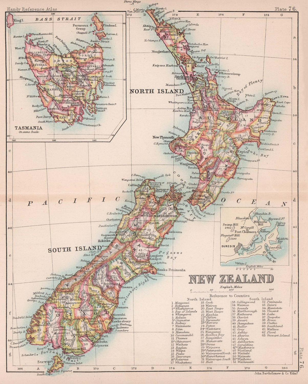 New Zealand & Tasmania. BARTHOLOMEW 1893 old antique vintage map plan chart