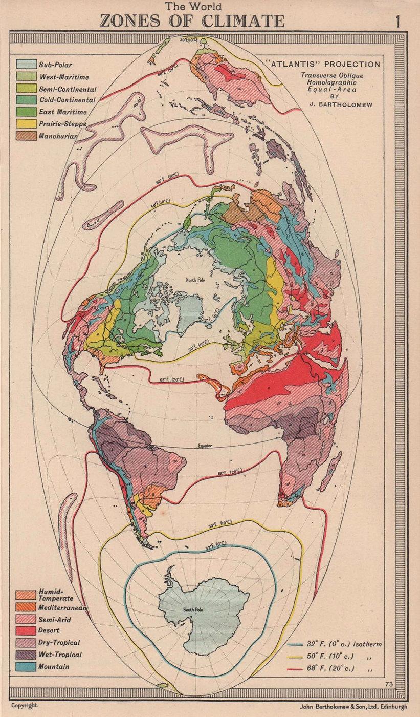 World - Zones of Climate. Atlantis projection. BARTHOLOMEW 1949 old map