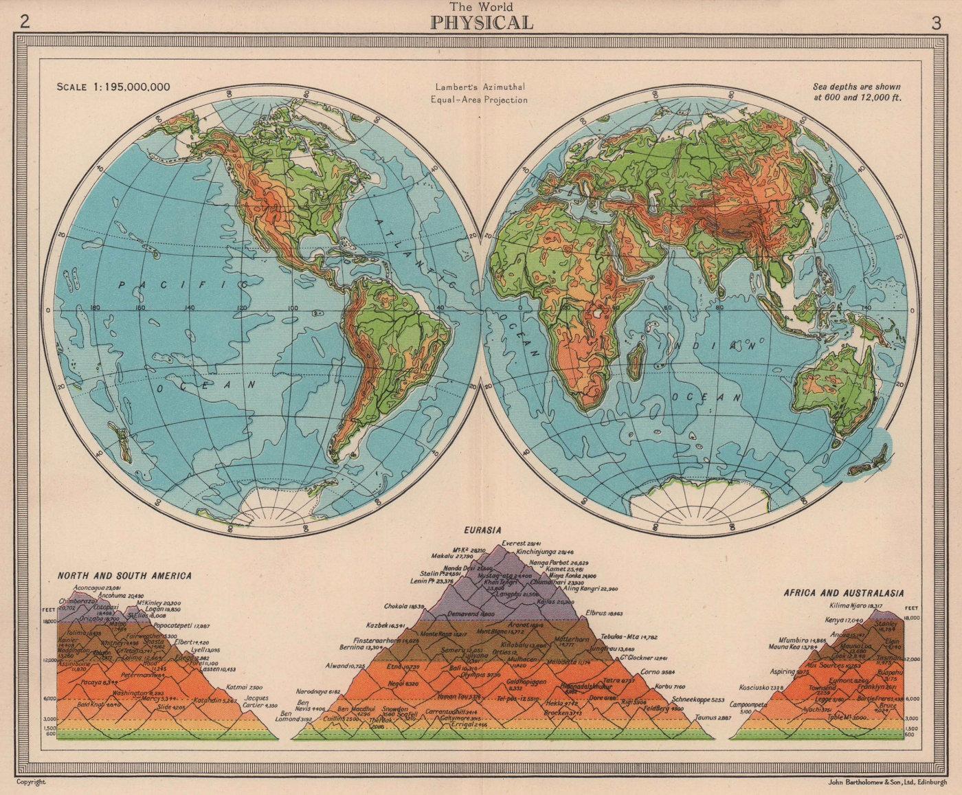 World - Physical. Hemispheres. Mountains. BARTHOLOMEW 1949 old vintage map