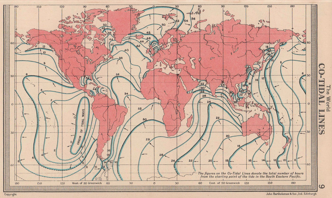 World - Co-Tidal Lines. BARTHOLOMEW 1949 old vintage map plan chart