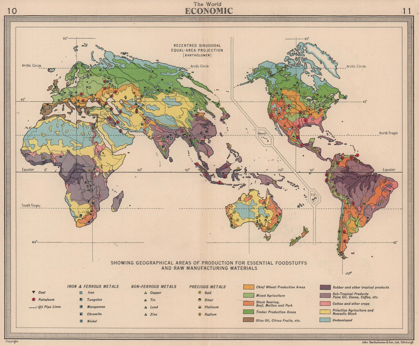 World Economic. Recentred Sinusoidal equal-area projection. BARTHOLOMEW 1949 map