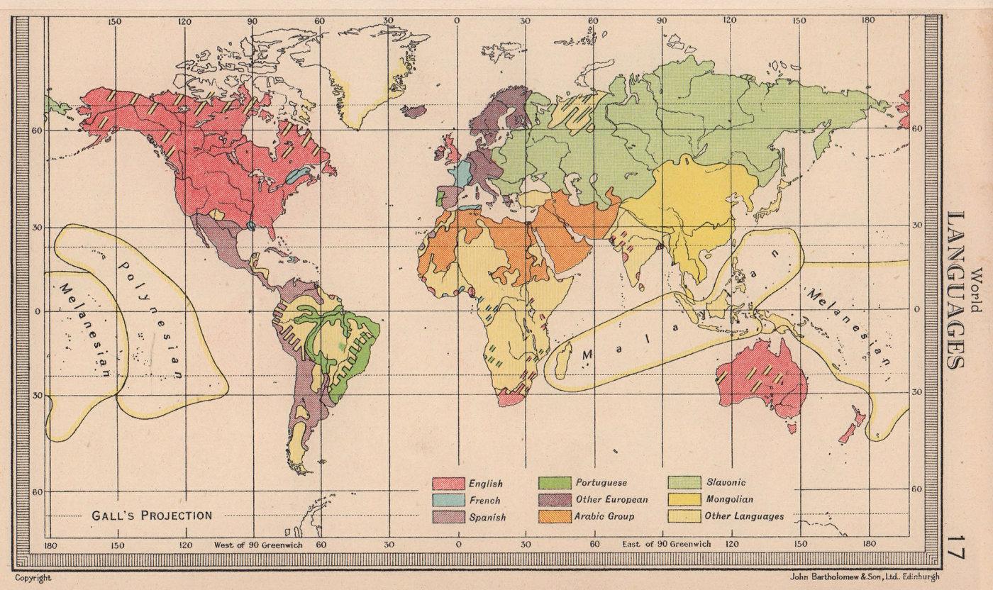 World - Languages. BARTHOLOMEW 1949 old vintage map plan chart