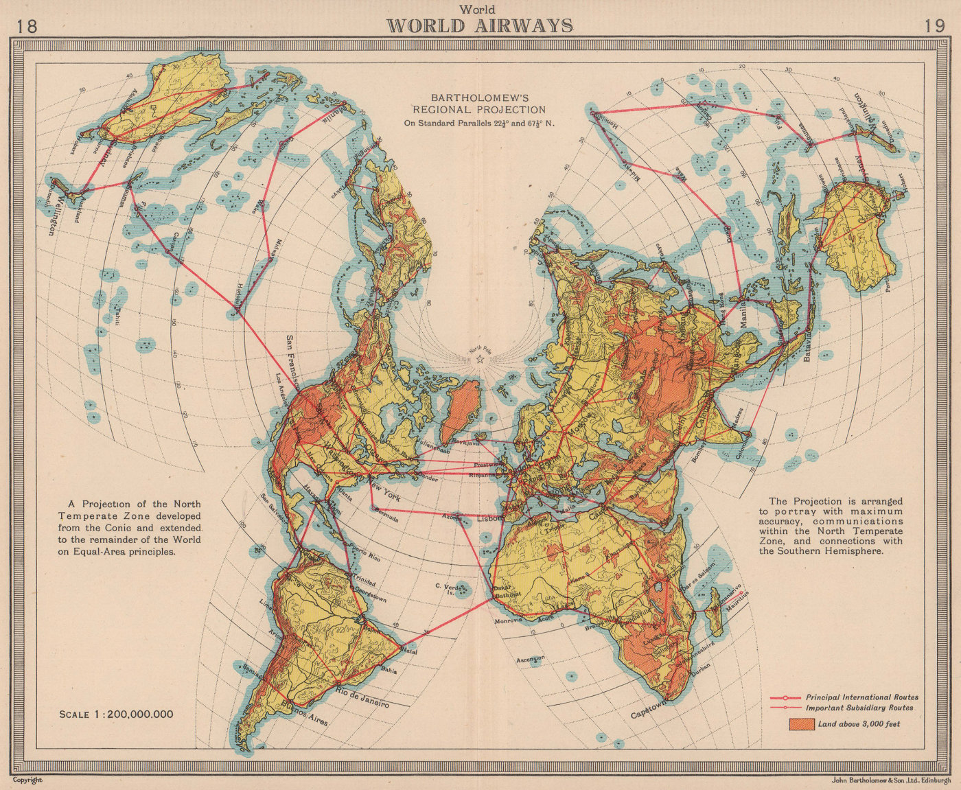 World Airways. Air routes. BARTHOLOMEW 1949 old vintage map plan chart