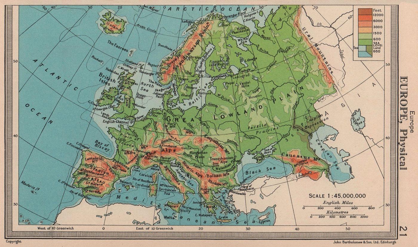 Europe - Physical. Mountains Rivers. BARTHOLOMEW 1949 old vintage map chart