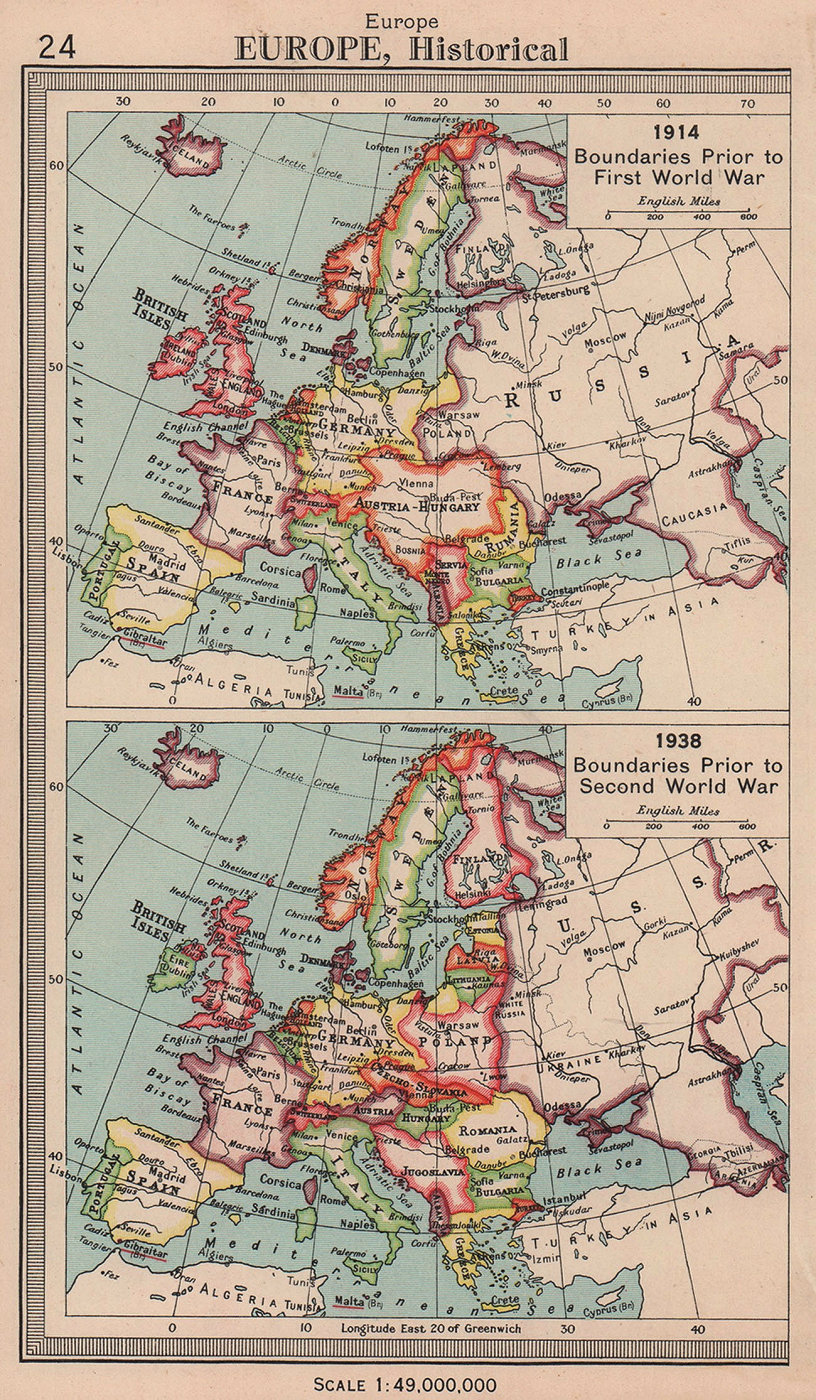 Europe borders in 1914 and 1938. BARTHOLOMEW 1949 old vintage map plan chart