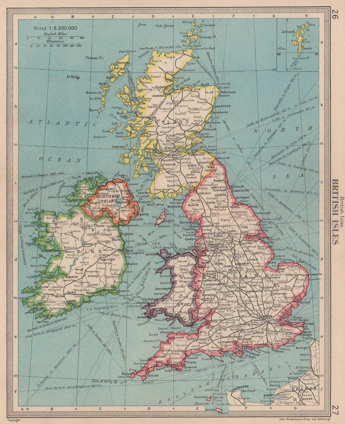 British Isles railways. BARTHOLOMEW 1949 old vintage map plan chart
