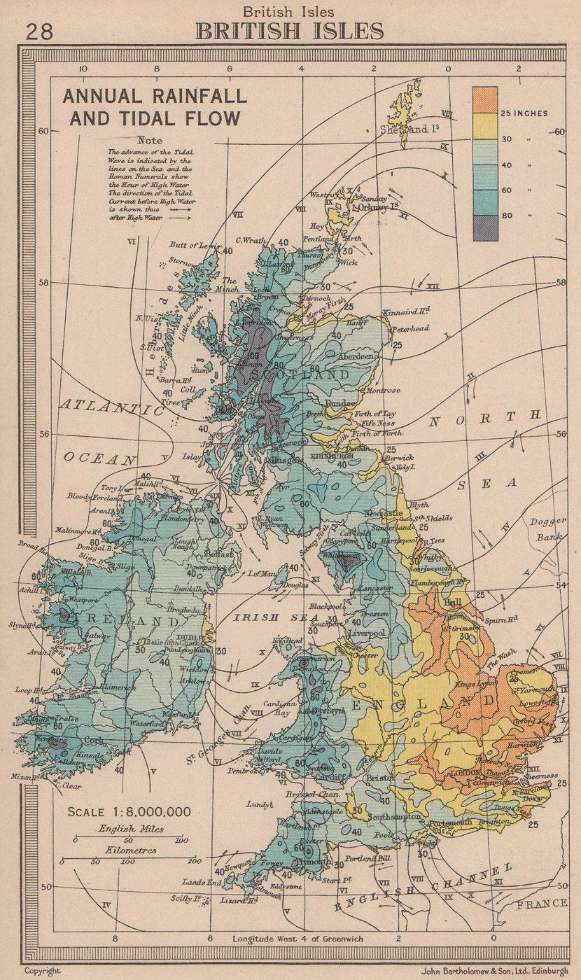 British Isles - annual rainfall & tidal flow. BARTHOLOMEW 1949 old vintage map