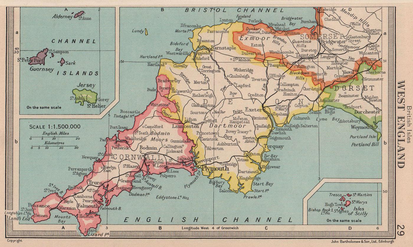 West of England. Devon & Cornwall. BARTHOLOMEW 1949 old vintage map plan chart