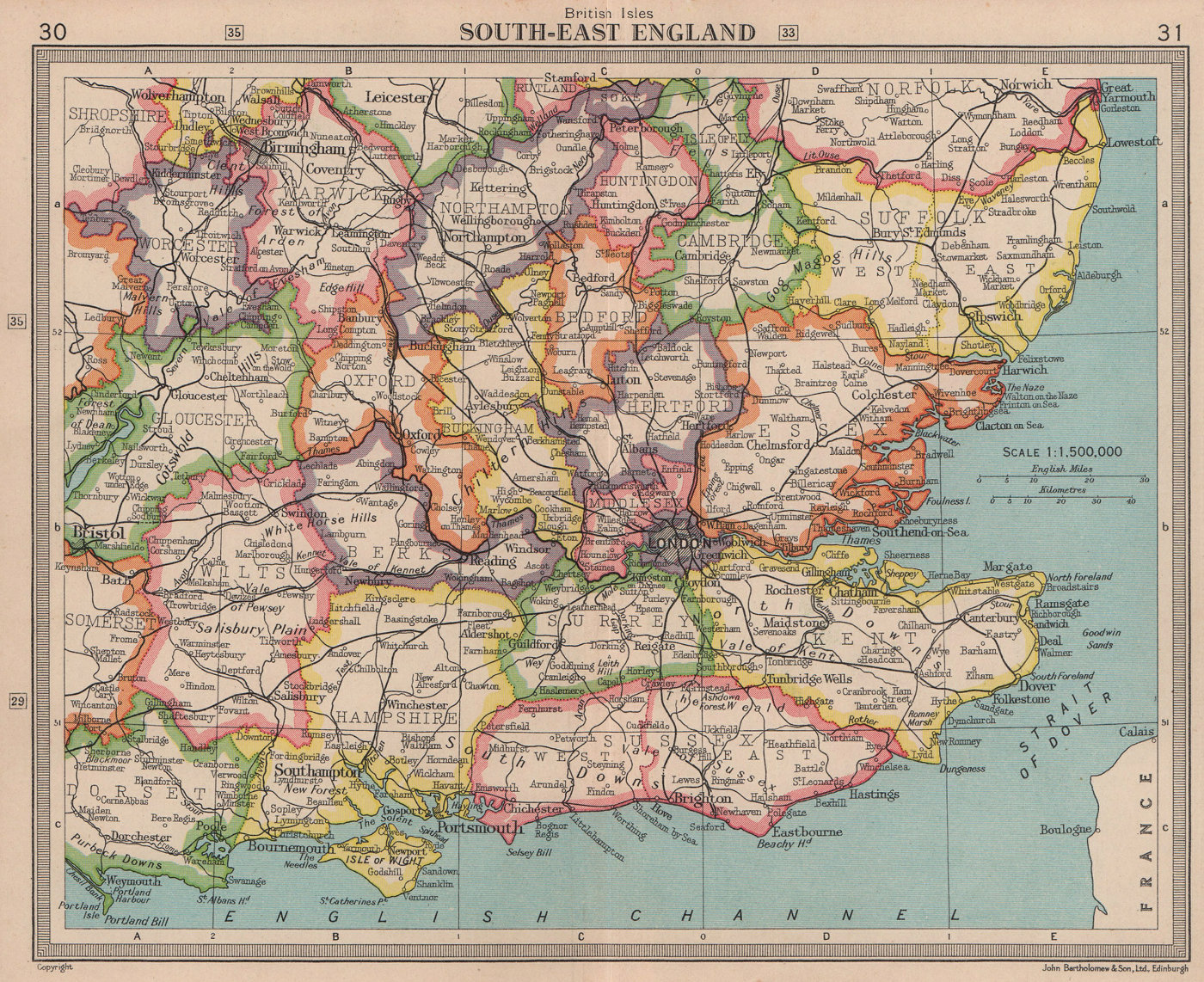 South East England. Home Counties. BARTHOLOMEW 1949 old vintage map plan chart