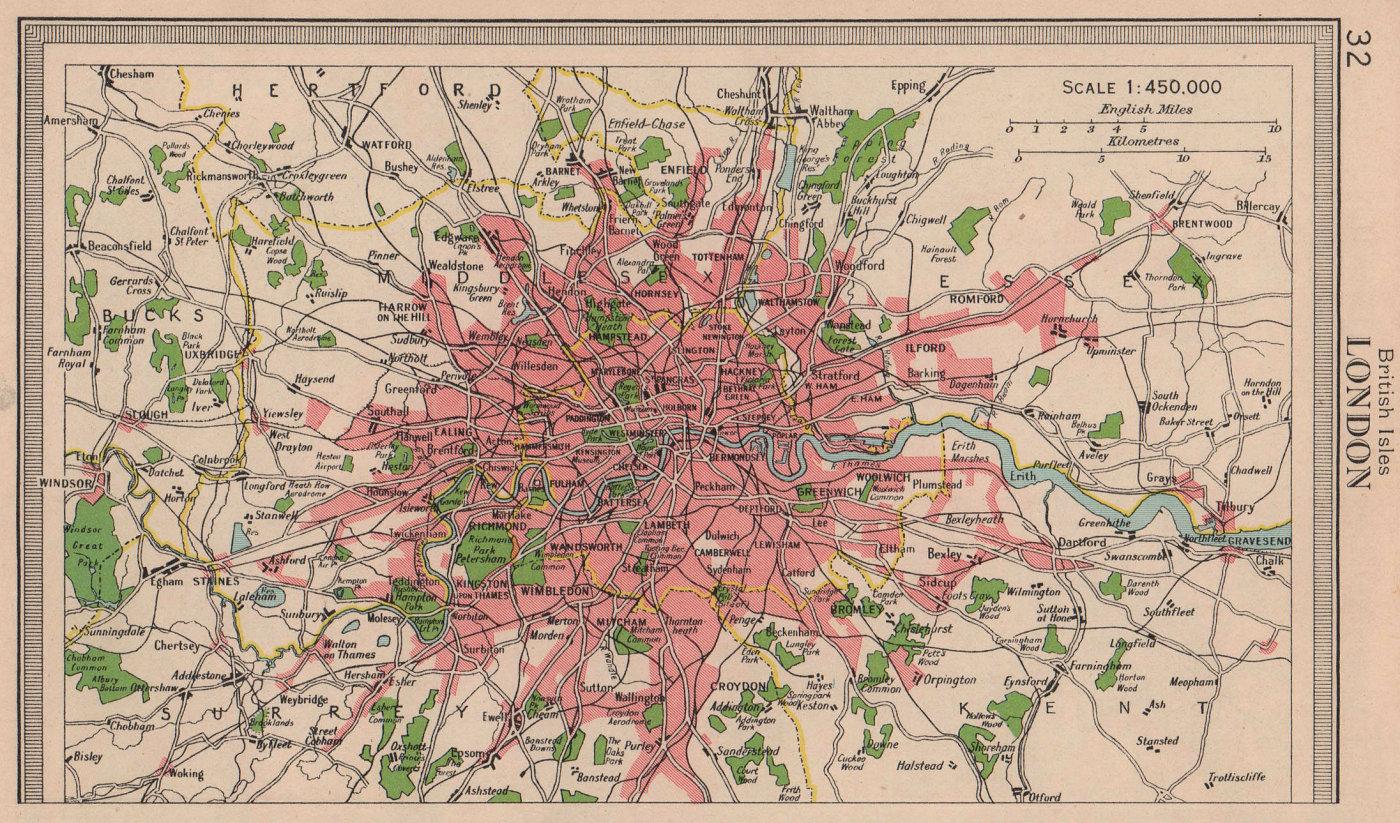 London & environs. BARTHOLOMEW 1949 old vintage map plan chart