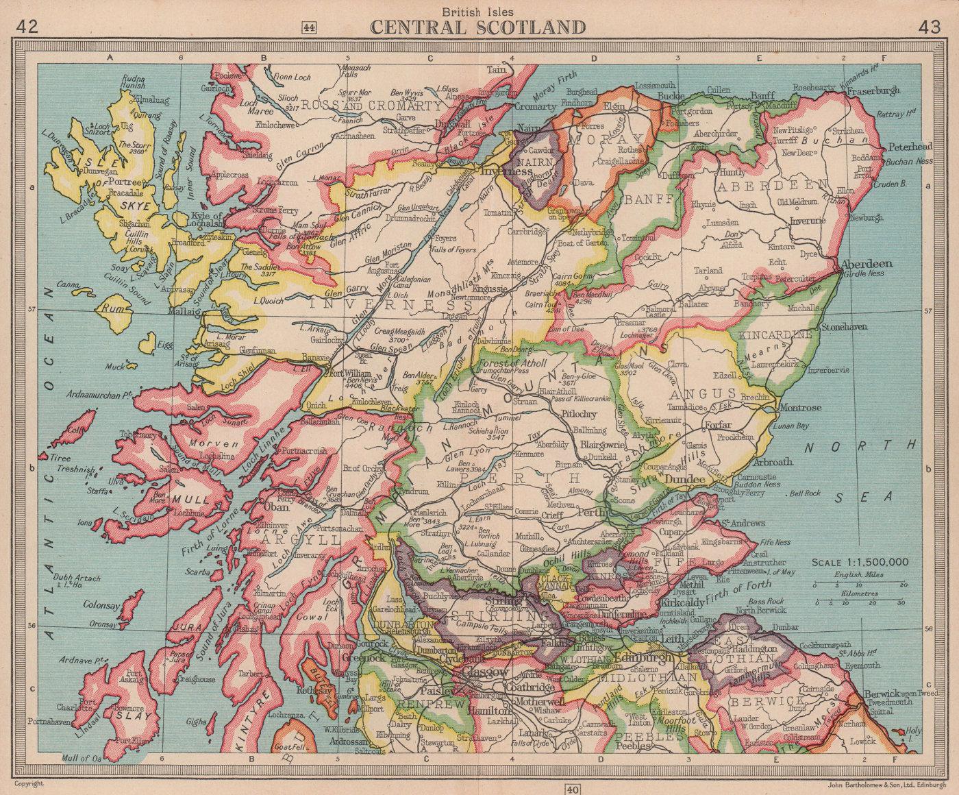 Central /Northern Scotland. BARTHOLOMEW 1949 old vintage map plan chart
