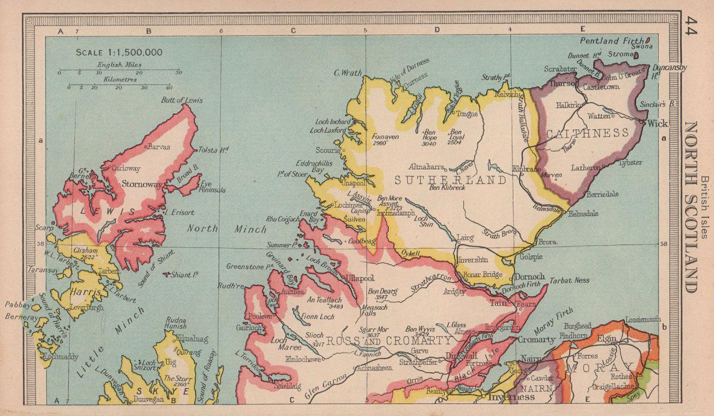 Northern Scotland. Highlands & Islands. BARTHOLOMEW 1949 old vintage map chart