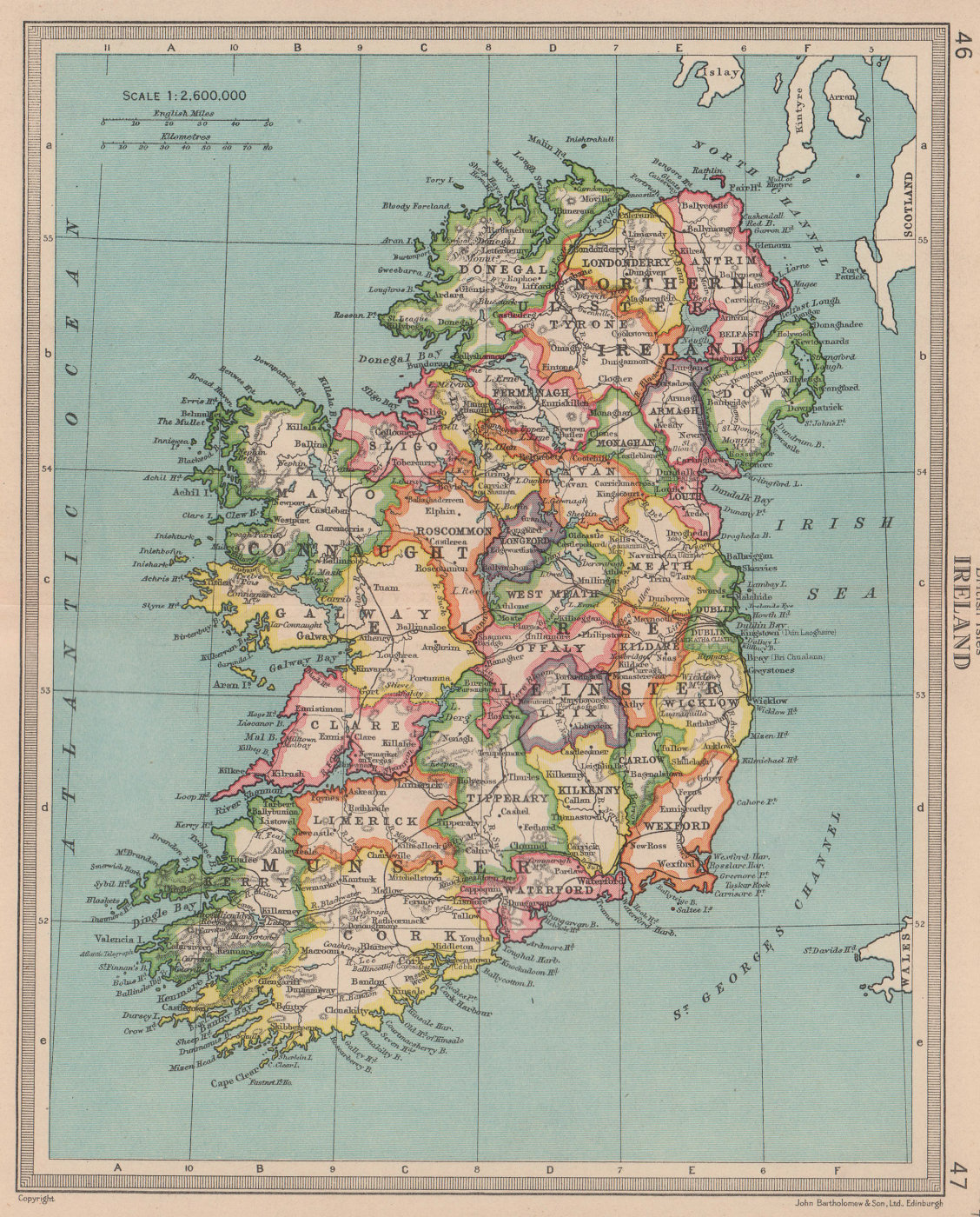 Ireland in provinces & counties. Antique map. BARTHOLOMEW 1949 old