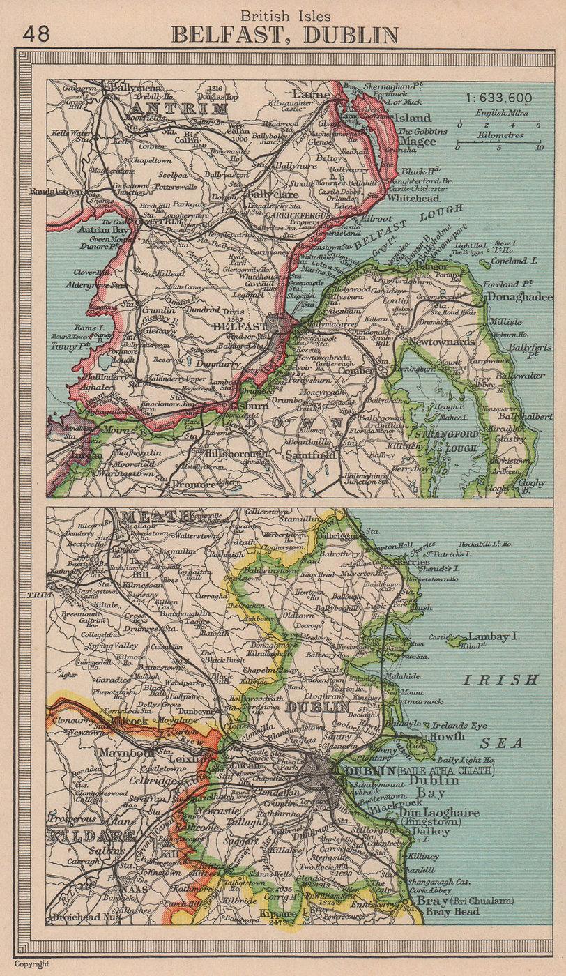 Belfast & Dublin environs. Irish cities. BARTHOLOMEW 1949 old vintage map
