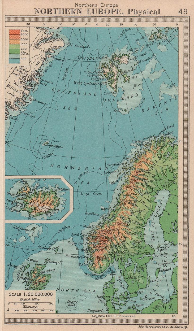 Northern Europe - Physical. Scandinavia Svalbard. BARTHOLOMEW 1949 old map