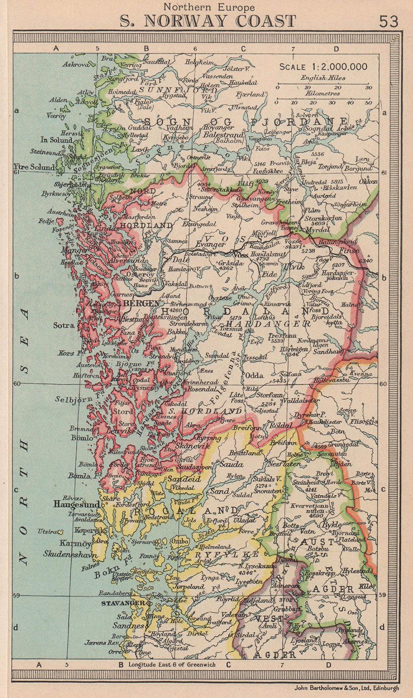 South Norway Coast. Bergen. Hordaland. BARTHOLOMEW 1949 old vintage map chart