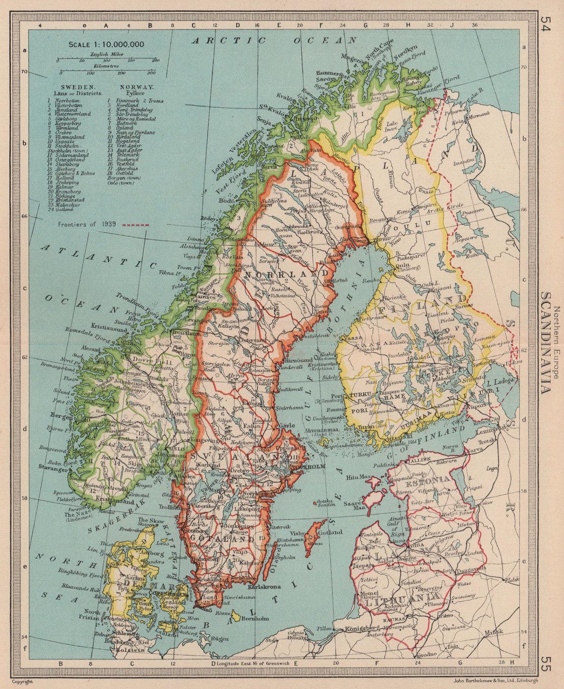 Scandinavia. Nordics. Sweden Norway Finland 1939 frontiers. BARTHOLOMEW 1949 map