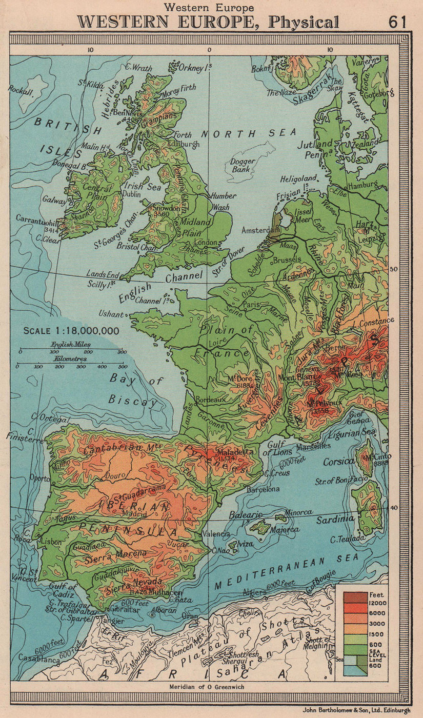 Western Europe - Physical. BARTHOLOMEW 1949 old vintage map plan chart