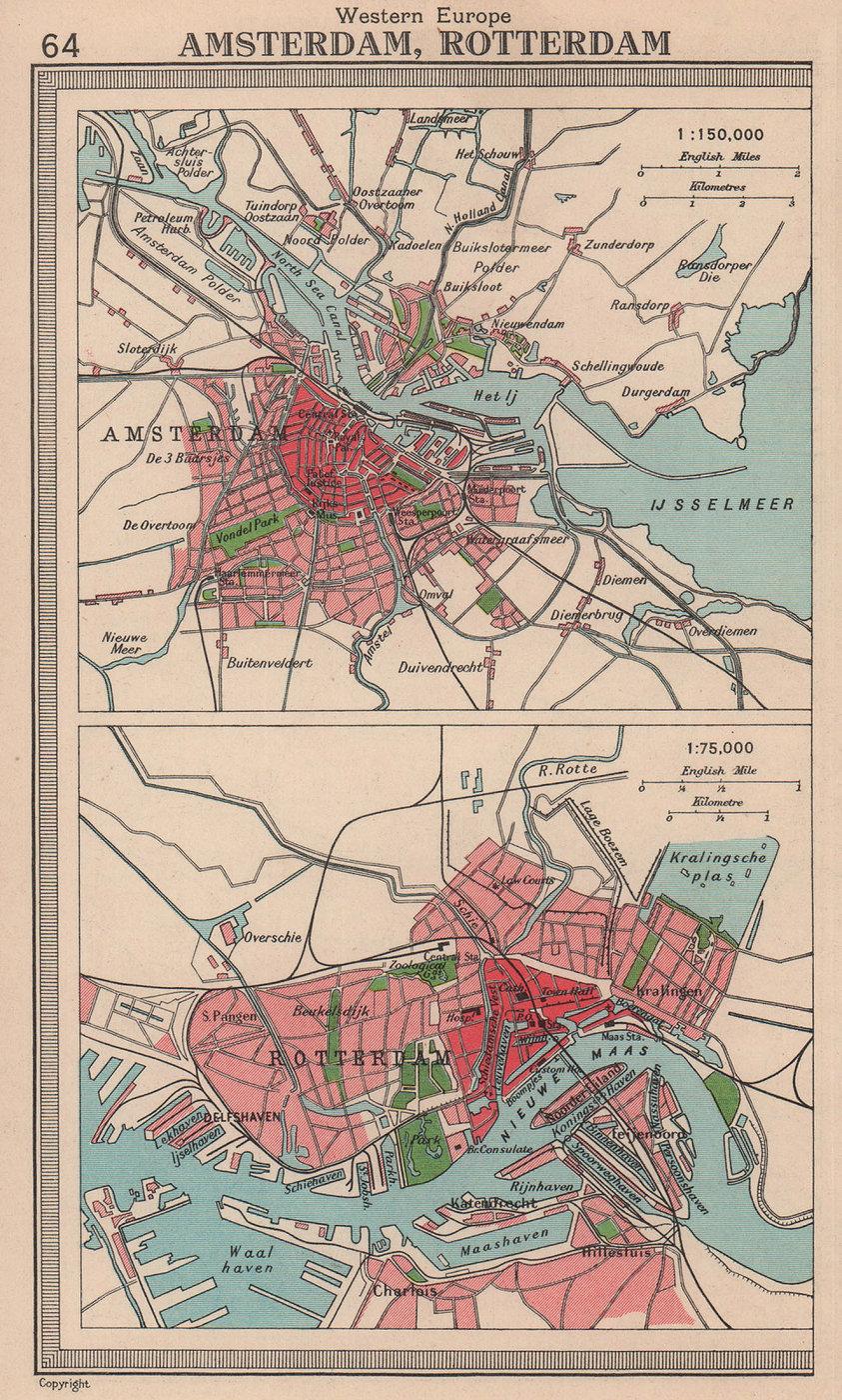 Dutch cities. Amsterdam & Rotterdam. Netherlands. BARTHOLOMEW 1949 old map