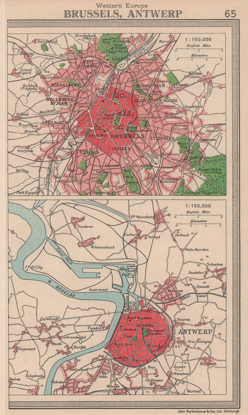 Belgian cities. Brussels & Antwerp. Belgium. BARTHOLOMEW 1949 old vintage map