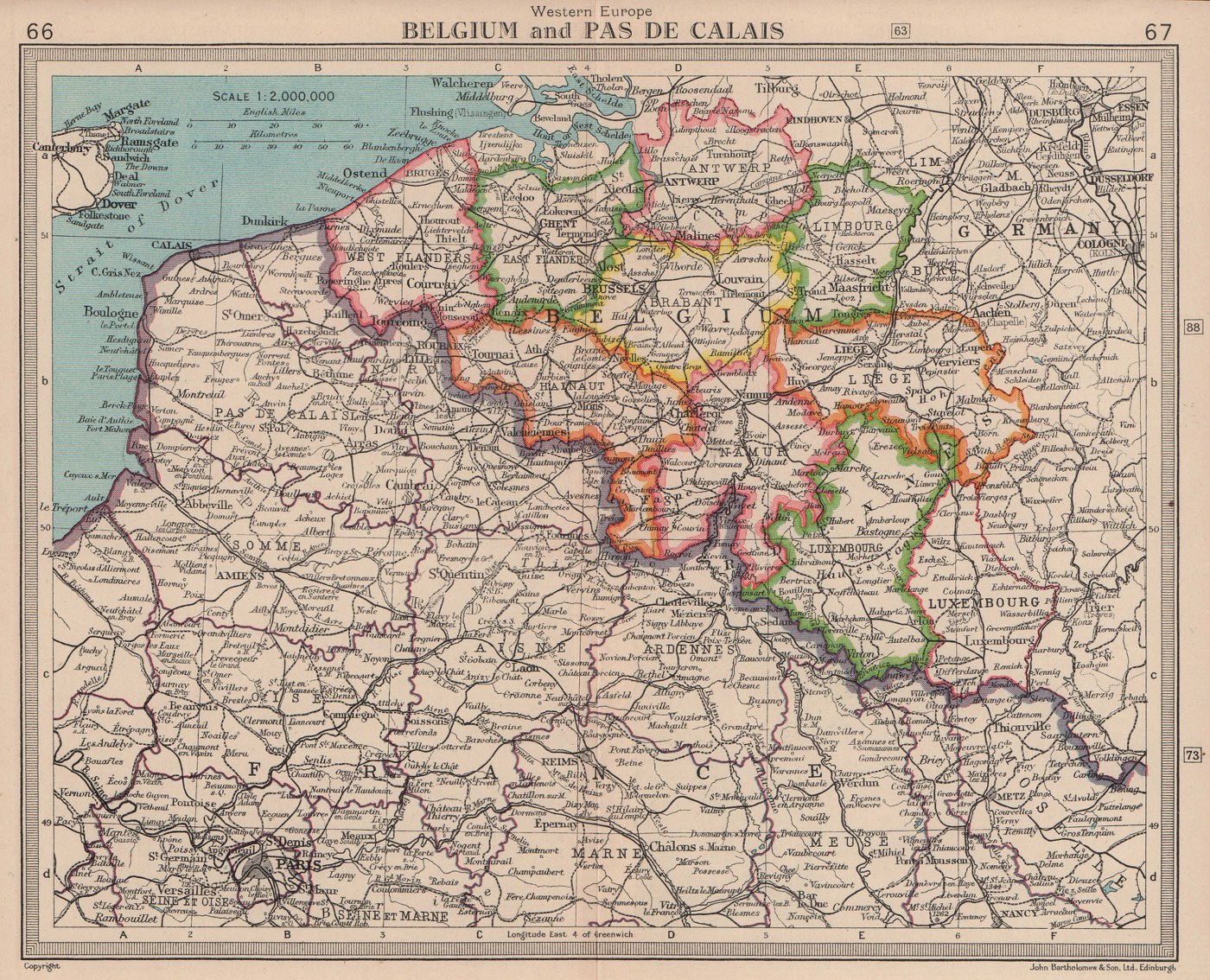 Belgium & North-east France. Hauts-de-France. BARTHOLOMEW 1949 old vintage map