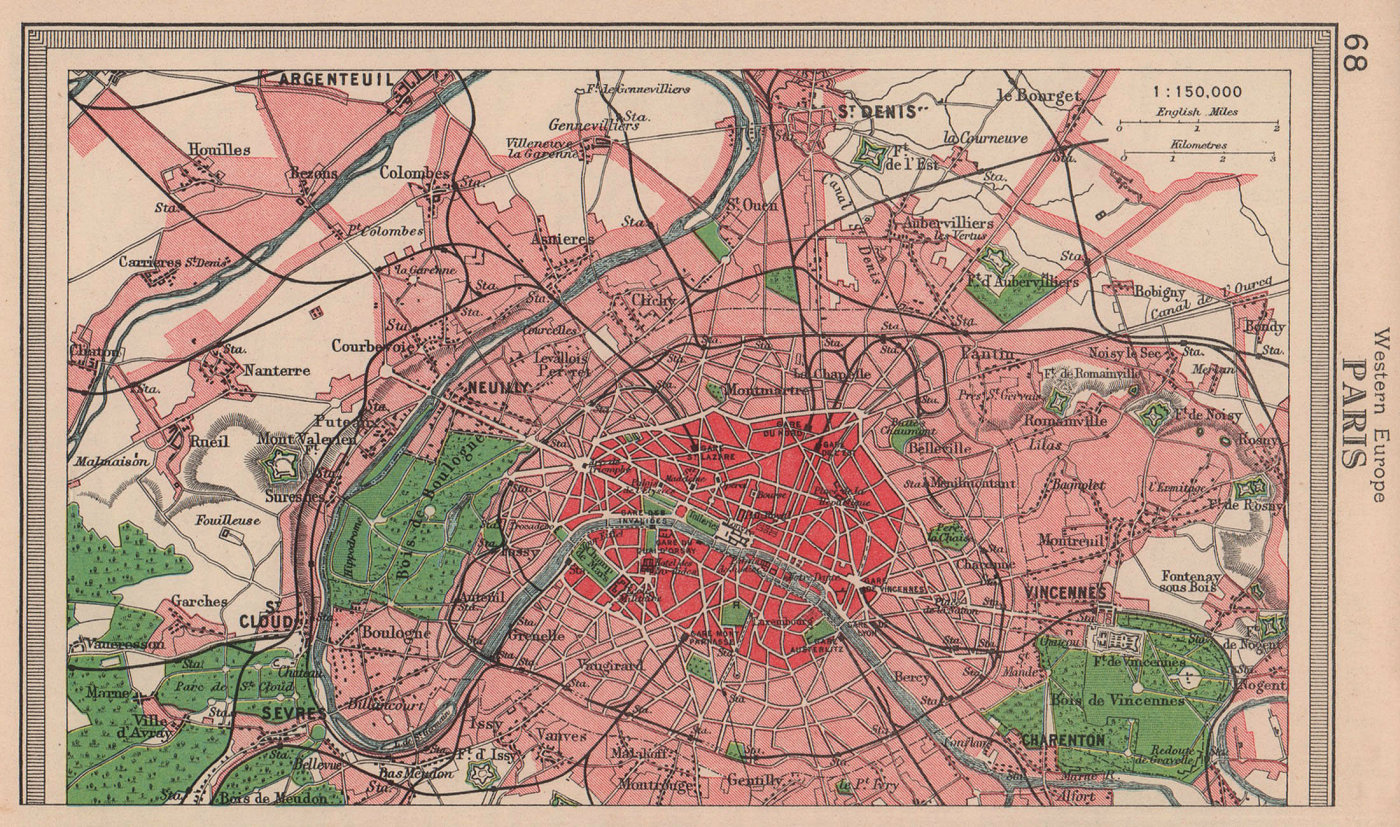 Paris town city plan. BARTHOLOMEW 1949 old vintage map chart