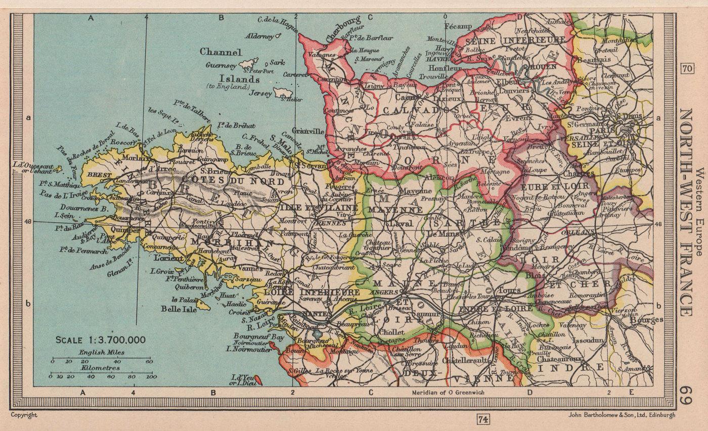 North-West France. Britanny Normandy Maine Touraine. BARTHOLOMEW 1949 old map