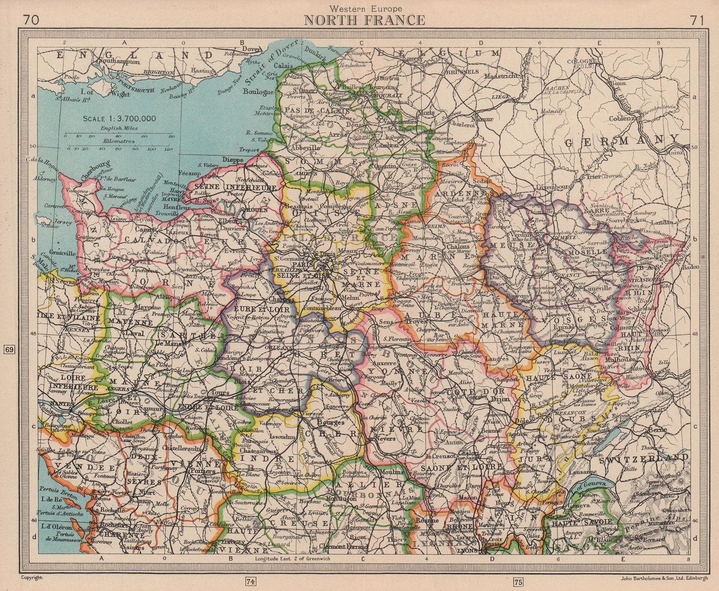 North France. Saar Protectorate Saarprotektorat. BARTHOLOMEW 1949 old map