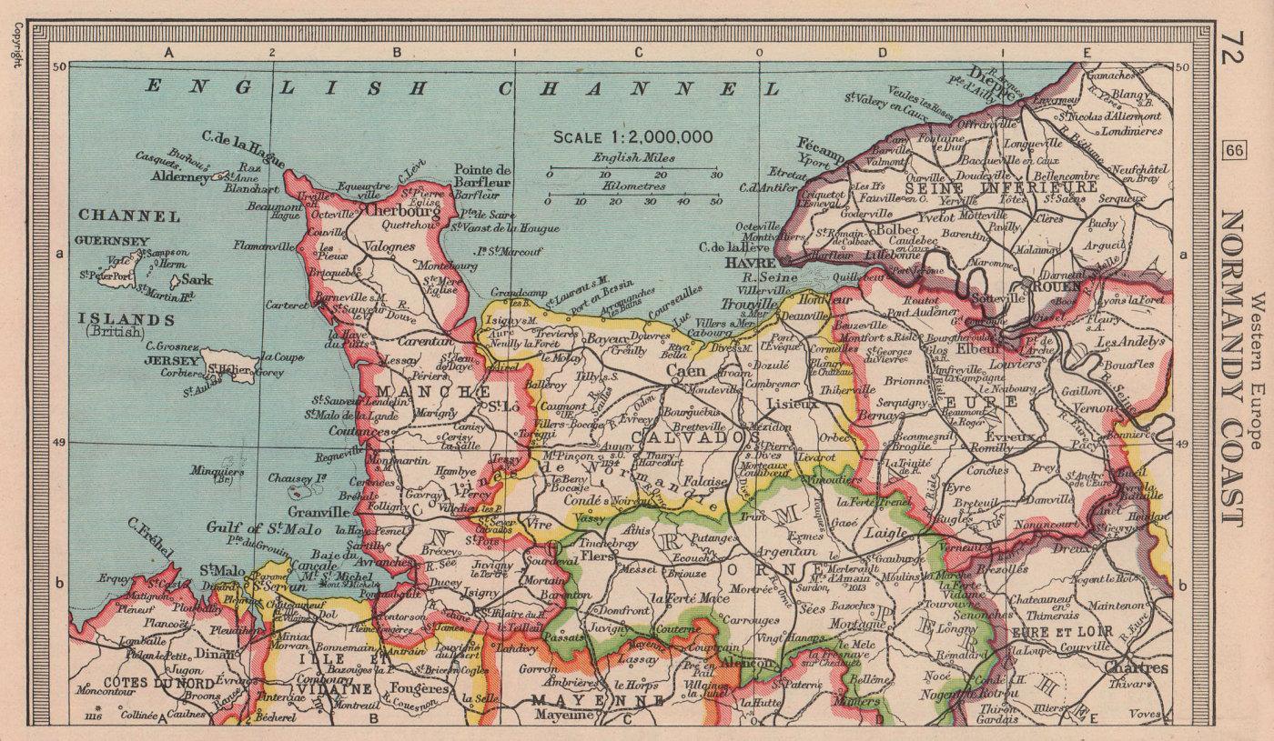 Normandy Coast. Manche Calvados Eure Orne. BARTHOLOMEW 1949 old vintage map