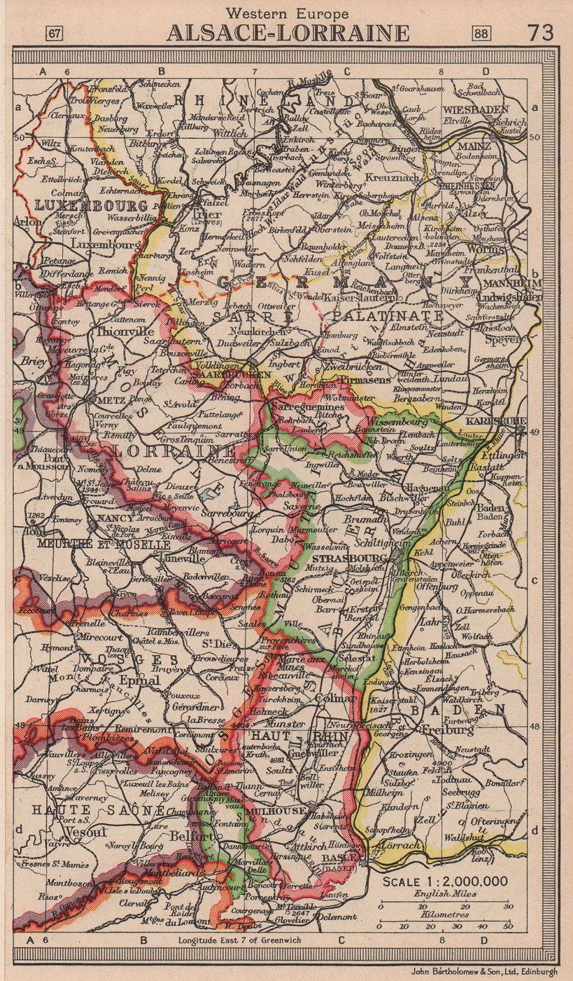 Alsace Lorraine. Saar Protectorate Saarprotektorat. BARTHOLOMEW 1949 old map