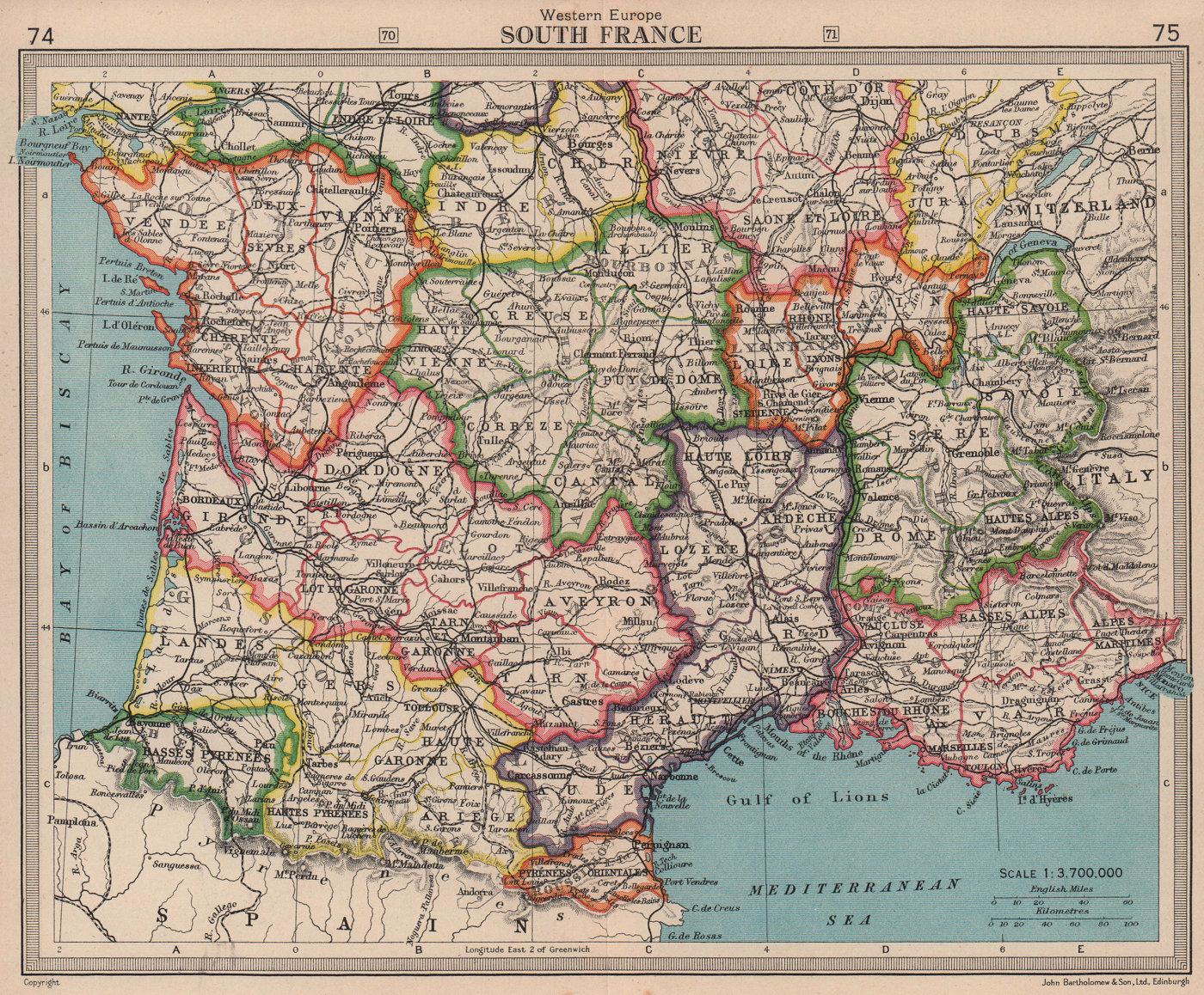 Southern France in old provinces. BARTHOLOMEW 1949 vintage map plan chart