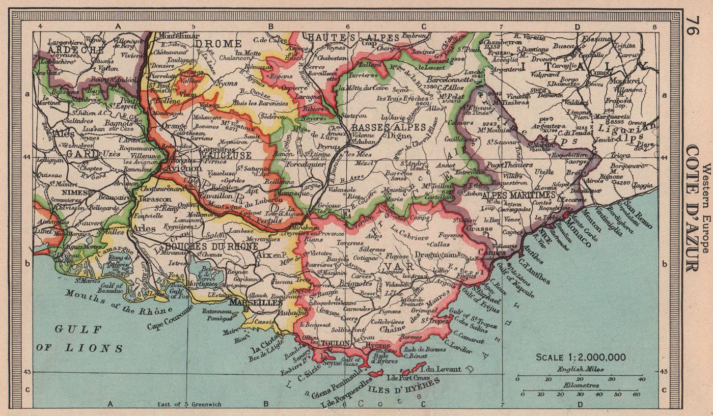 Côte d'Azur. Var Alpes-Maritimes Bouches-du-Rhône. BARTHOLOMEW 1949 old map