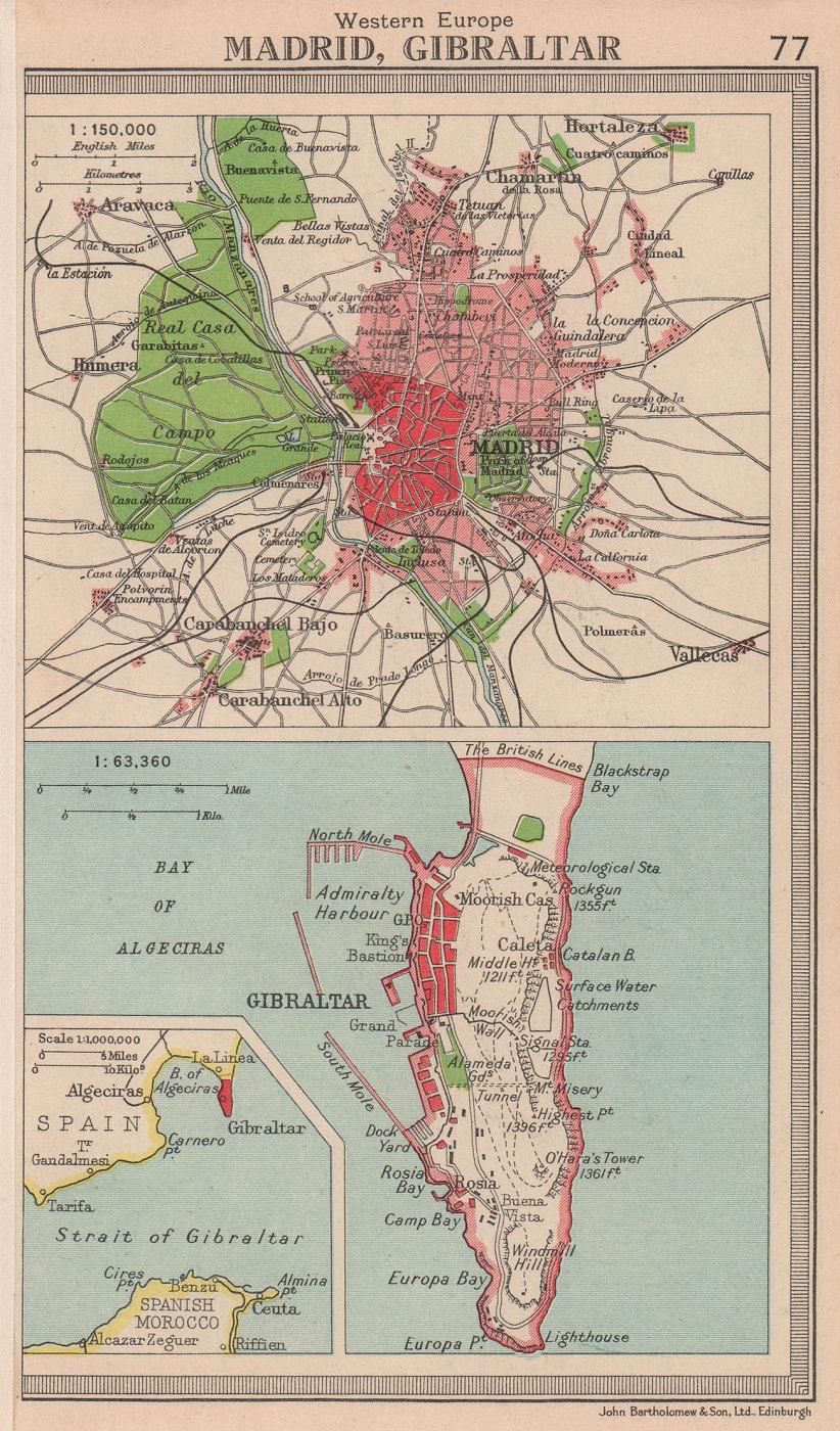 Iberia cities. Madrid & Gibraltar. Spain. BARTHOLOMEW 1949 old vintage map