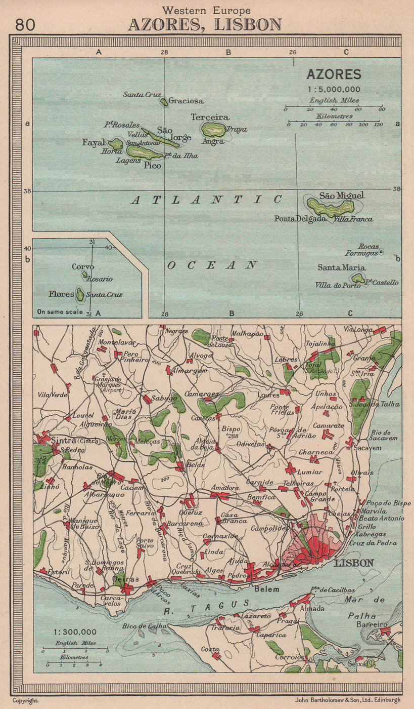 Azores & Lisbon environs. Portugal. BARTHOLOMEW 1949 old vintage map chart
