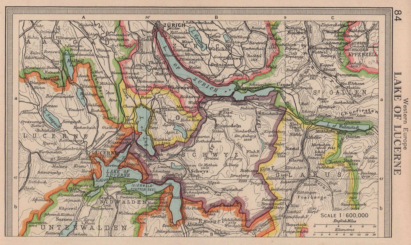 Lake Lucerne. Schwyz Zug Zurich Unterwalden Switzerland. BARTHOLOMEW 1949 map