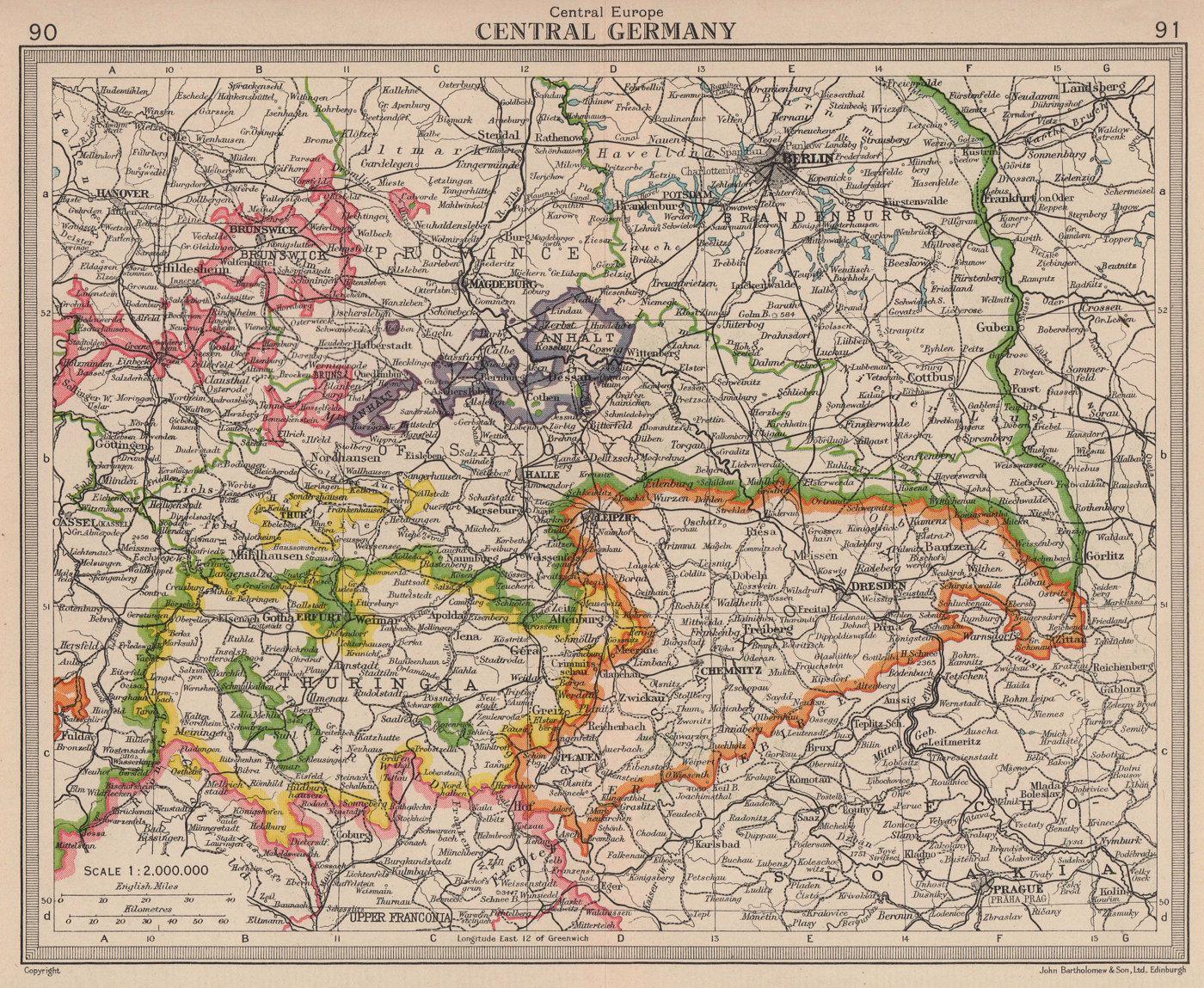 Central Germany. BARTHOLOMEW 1949 old vintage map plan chart
