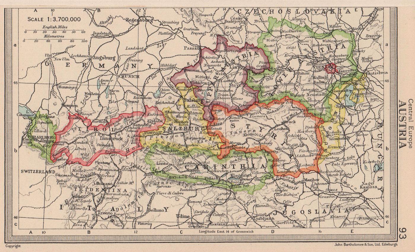 Austria in states. BARTHOLOMEW 1949 old vintage map plan chart