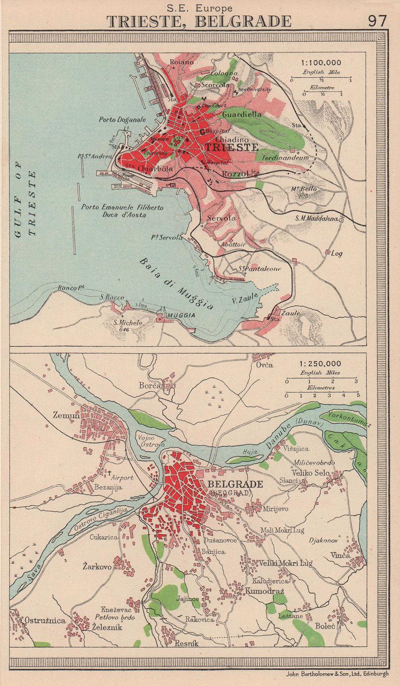 Trieste & Belgrade plan. Italy Serbia. BARTHOLOMEW 1949 old vintage map chart