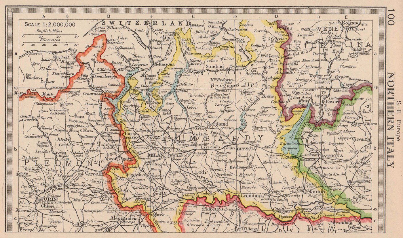 Northern Italy. Lombardy Piedmont. BARTHOLOMEW 1949 old vintage map plan chart