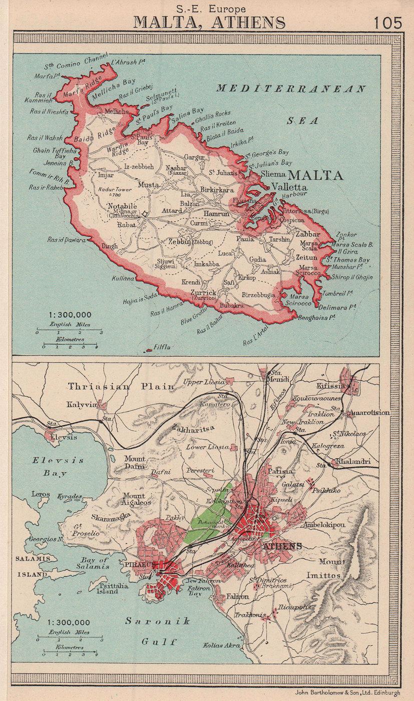 Malta & Athens/Piraeus environs plan. BARTHOLOMEW 1949 old vintage map chart