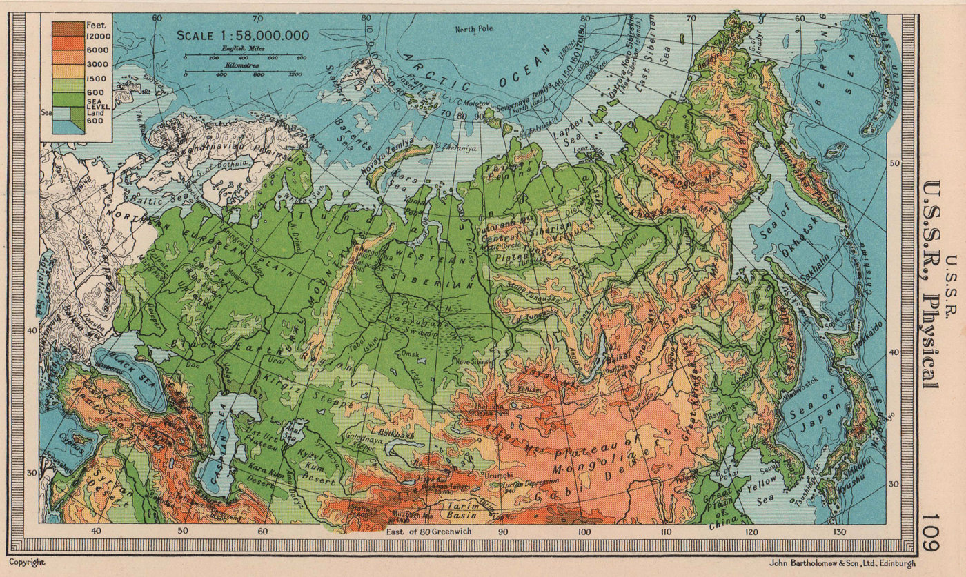 U.S.S.R. Physical. Russia. BARTHOLOMEW 1949 old vintage map plan chart