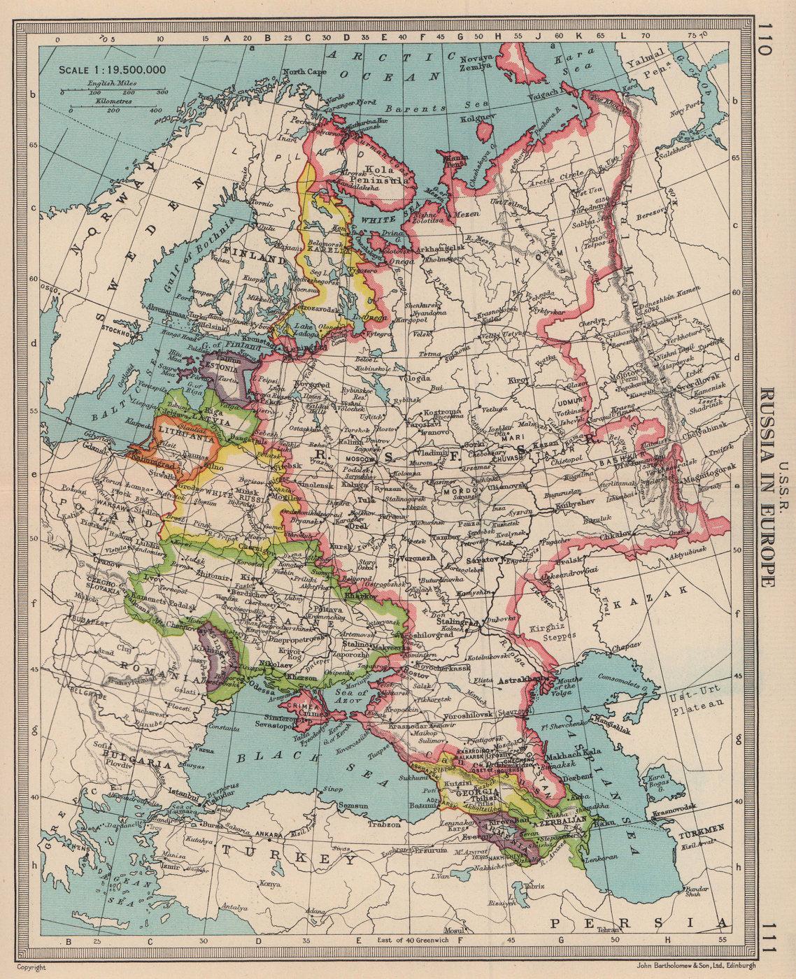 USSR. Ukraine Karelia Baltics White Russia. Russian Crimea. BARTHOLOMEW 1949 map