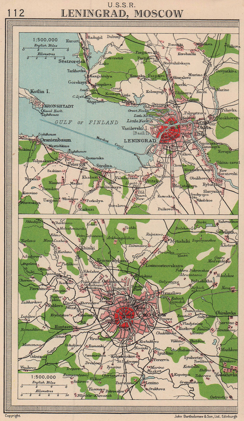 U.S.S.R. Russian cities. Leningrad & Moscow environs. BARTHOLOMEW 1949 old map