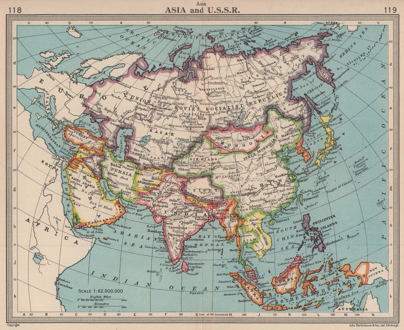 Asia & U.S.S.R. Independent Tibet. Newly partitioned India. BARTHOLOMEW 1949 map