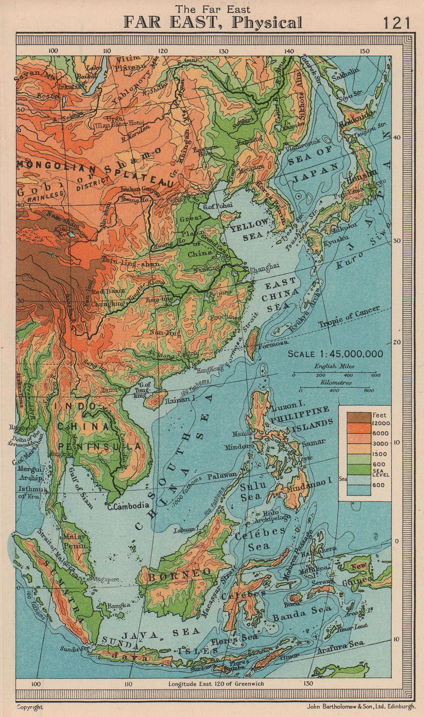 Far East - Physical. East Asia. BARTHOLOMEW 1949 old vintage map plan chart