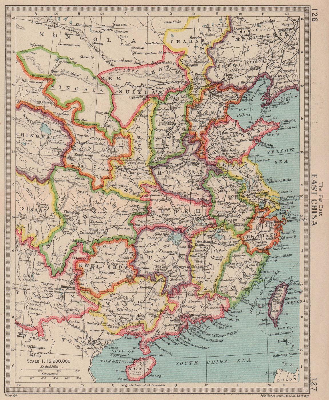 China. BARTHOLOMEW 1949 old vintage map plan chart