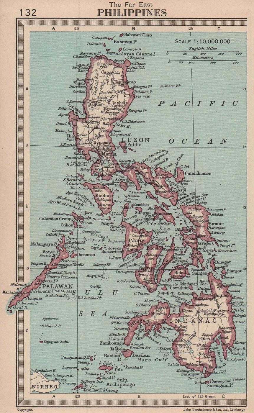 Philippines. BARTHOLOMEW 1949 old vintage map plan chart