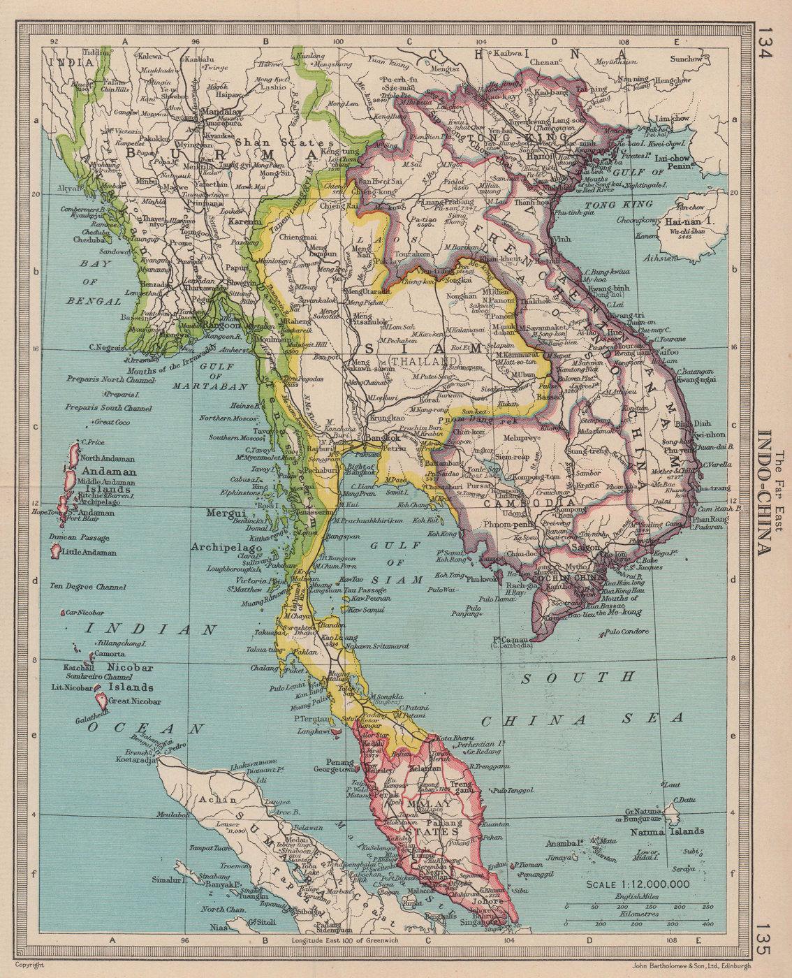 Siam Thailand French Indochina Malay States Burma. BARTHOLOMEW 1949 old map