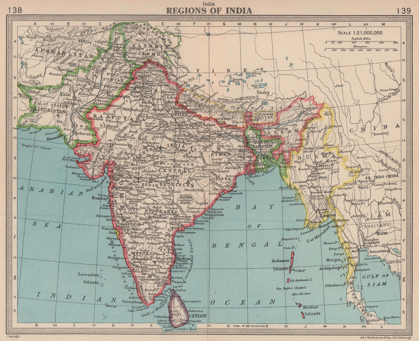 Newly partitioned India East Pakistan Burma. Unresolved Jammu & Kashmir 1949 map